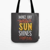 sunshine Tote Bags featuring Sunshine by Wharton