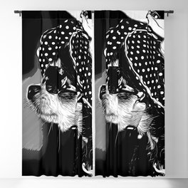 classy chihuahua dog lady vector art black white Blackout Curtain