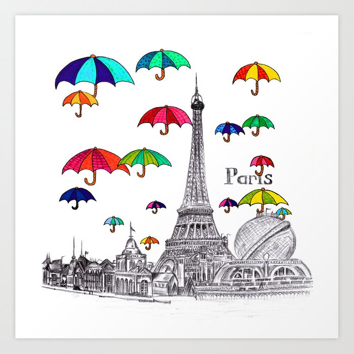 Travel with Umbrella Art Print