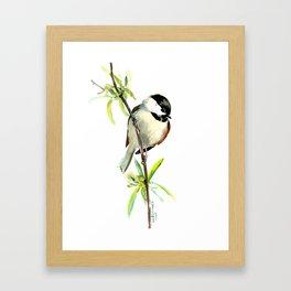 Chickadee on Willow, minimalist bird artwork chickadee painting Framed Art Print
