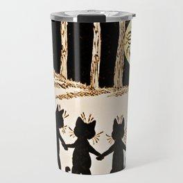 Cats & a Full Moon-Louis Wain Black Cats Travel Mug