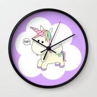 poop Wall Clocks featuring Unicorn Poop by Stephanie Keyes Design