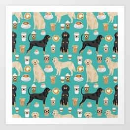 Golden Retriever and Coonhound design Art Print