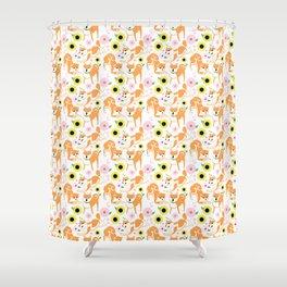Spring Shiba Shower Curtain