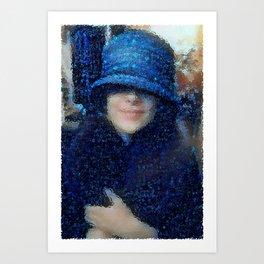 The Blue Cloche Hat Art Print