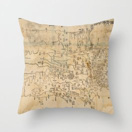 Map of Anxi and Qinghai Outside of Jiayuguan, China (1864) Throw Pillow