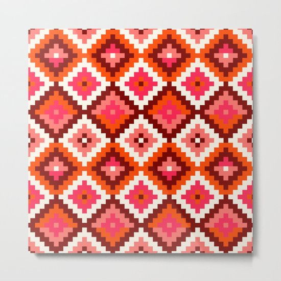 Aztec pattern-rose, orange, brown Metal Print