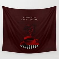 """lynch Wall Tapestries featuring """"Twin Peaks"""" - A damn fine cup of coffee by ShaMiLa"""