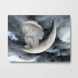 Angel Cherub Child Moon Blue Child's Room Art Bedroom Decor A402 Metal Print