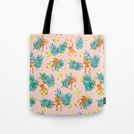 Tropical Monkey Banana Bonanza on Blush Pink Tote Bag