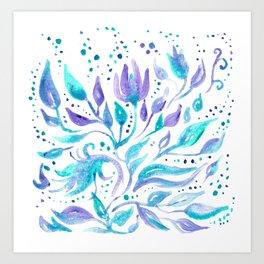 Dreamy Purple Teal Florals Art Print