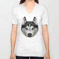 husky V-neck T-shirts featuring Husky // Blue by peachandguava
