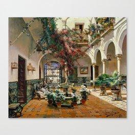 Interior Courtyard Seville Spain by Manuel Garcia Y Rodriguez Canvas Print