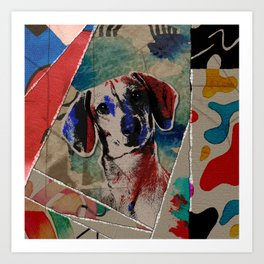 Dachshund Abstract mixed media digital art collage Art Print