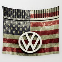 vw bus Wall Tapestries featuring VW Retro US Flag by Alice Gosling