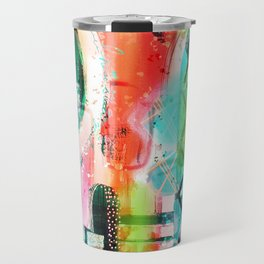 Green, coral and turquoise mixed media digital abstract design Travel Mug