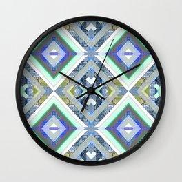 Elegant Boho Cool Tone Sacred Geometry Quilt Print Wall Clock