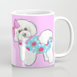 Bichon Frise Dogs in love- wearing pink and blue coats Coffee Mug