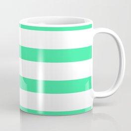 Green Turquoise Stripes on White Background Coffee Mug