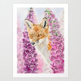 Foxglove Fox Art Print