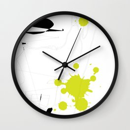 Lime Green Abstract Rick Genest Wall Clock
