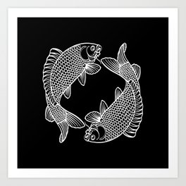 Black White Koi Minimalist Art Print