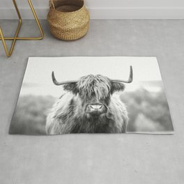 Highland Cow Longhorn in a Field Black and White Rug