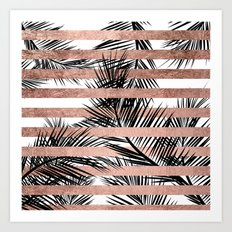 Trendy tropical palm trees chic rose gold stripes Art Print