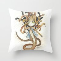 magic the gathering Throw Pillows featuring Snake Token - Magic the Gathering - Pharika by Deadlance