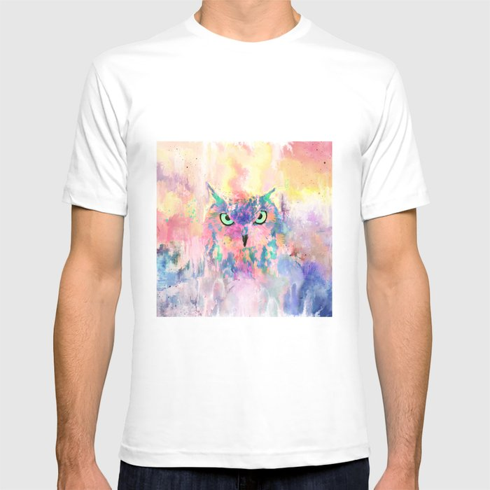 Watercolor eagle owl abstract paint T-shirt