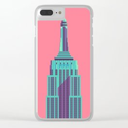 Empire State Building New York Art Deco - Red Clear iPhone Case