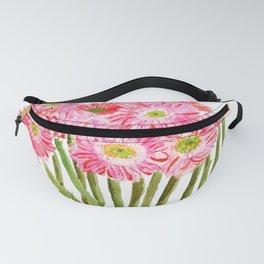 Pink Gerbera Daisy watercolor Fanny Pack