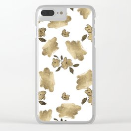 Modern white faux gold brushstrokes floral pattern Clear iPhone Case