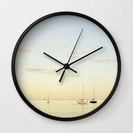 Crescent Beach Boats Wall Clock