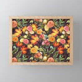 Autumn Flowers and Leaves Framed Mini Art Print