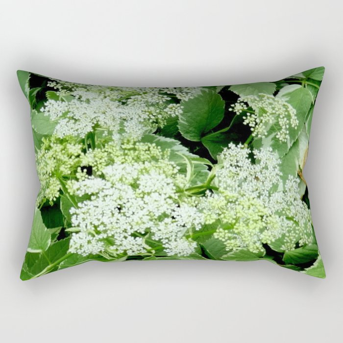 AWESOME DELICATE GREEN LACE FLOWERS Rectangular Pillow
