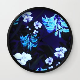 Blue Jungle Floral with Orchids and Jade Vine Wall Clock