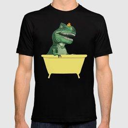 Playful T-Rex in Bathtub in Purple T-shirt