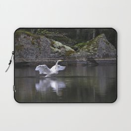 Welcome Spring White Swan On A Dark Nature Background Laptop Sleeve