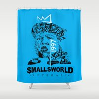 biggie smalls Shower Curtains featuring Smalls World After All (Biggie Lives On) by dylated