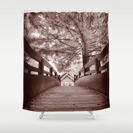 Sepia Bridge Shower Curtain