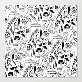 Death Lily Tattoo Flash Print Canvas Print