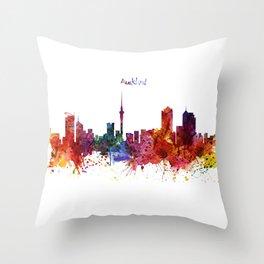 Auckland Watercolor Skyline Throw Pillow