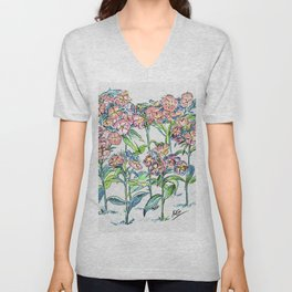Sweet William Flowers Color Pencil drawing Unisex V-Neck