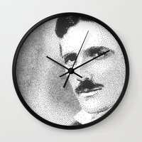 tesla Wall Clocks featuring Nikola Tesla by Daniel Point