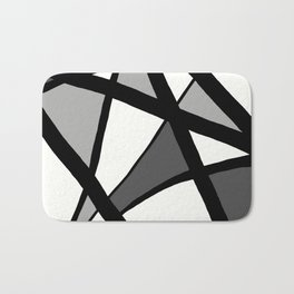 Geometric Line Abstract - Black Gray White Bath Mat