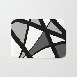 Geometric Line Abstract - Black Gray White Bath Mat