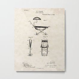 Baby Carriage Vintage Patent Hand Drawing Metal Print