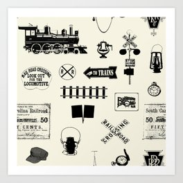 Railroad Symbols // Beige Art Print