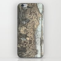 san francisco map iPhone & iPod Skins featuring Vintage Pictorial Map of San Francisco (1854) by BravuraMedia